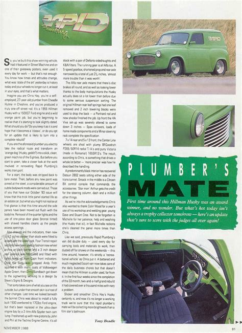 Hillman Plumbing by Beardmore Bros Rapid Plumbing Machine Magazine Article Page 1