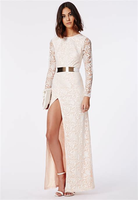 Aw4942 Maxi Dres 1 aaliah lace side split maxi dress dresses maxi dresses missguided