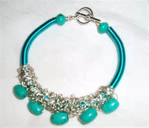 turquoise gemstone and turquoise wire coil bracelet