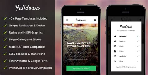 themeforest appbar mobile tablet responsive template falldown mobile tablet responsive template by enabled