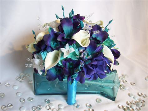 Jillian's Bridal Bouquet Teal PurpleCA Dendrobium Orchids