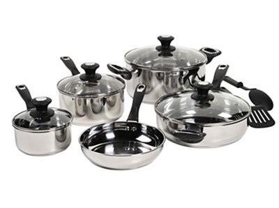bella  piece stainless steel cookware set   reg  wheel  deal mama