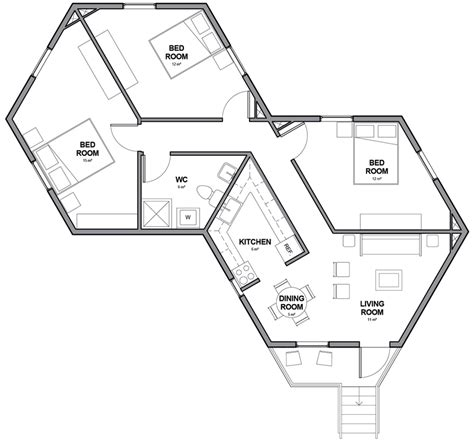 hexagon floor plans architects for society creates low cost hexagon refugee