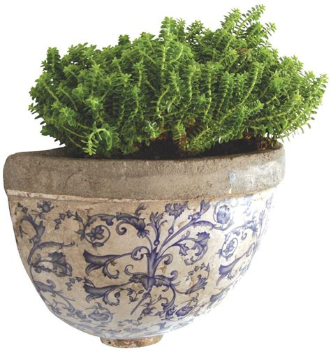 Aged Ceramic Blue And White Wall Planter By Garden Blue And White Planters