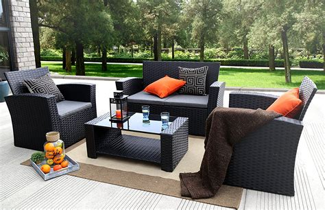 Black Patio Furniture Sets Baner Garden 4 Pc Outdoor Wicker Cushion Seating Set