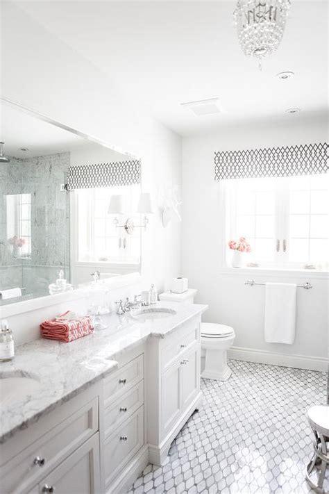 Bathroom with Marble Octagon Tiles   Transitional   Bathroom