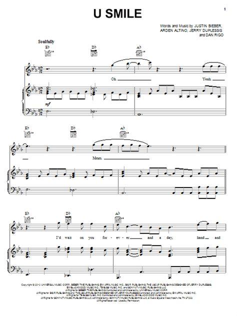 justin bieber u smile lyrics song u smile sheet music direct