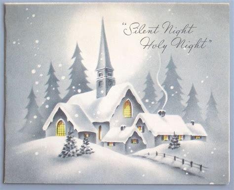 vintage greeting card christmas scene church snow houses silent night vintage christmas