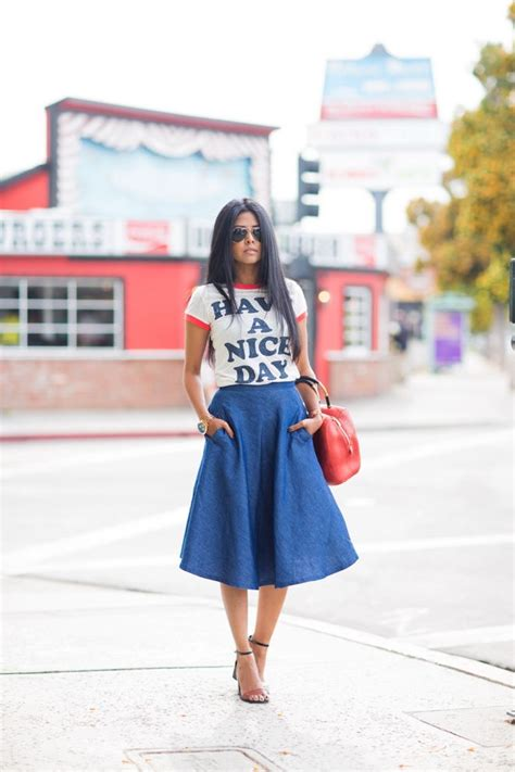 5 ways to wear a denim midi skirt glam radar