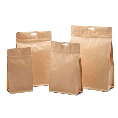 Brown Craft Paper Bag - brown kraft paper with aluminium foil lamination standup