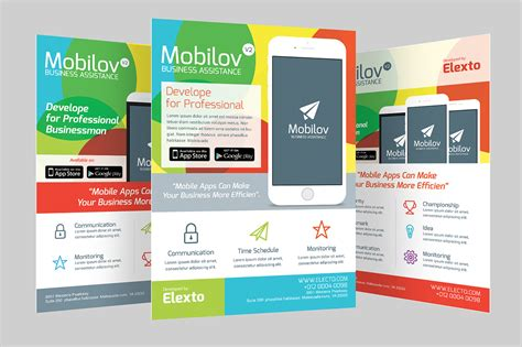 Colourful Mobile App Flyer Flyer Templates On Creative Market Free Flyer Design Templates App