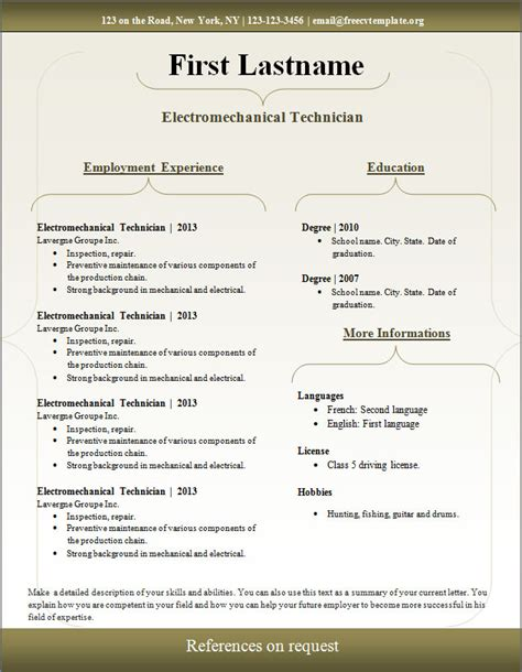 free curriculum vitae templates resume format of word file worksheet printables site