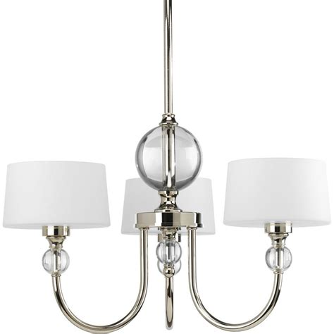 Polished Nickel Chandeliers Progress Lighting Fortune Collection 3 Light Polished Nickel Chandelier With Shade P4673 104