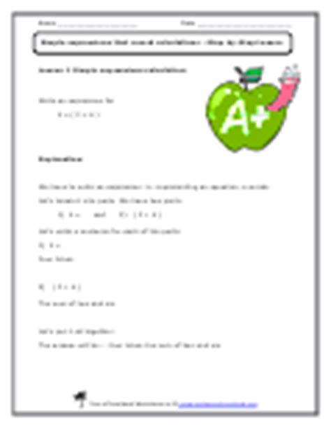 5 Oa 2 Worksheets by Working With Simple Expressions Worksheets