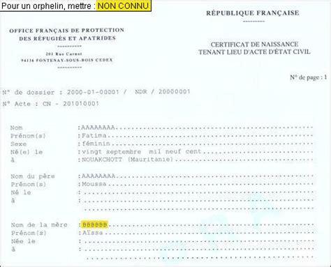 Demande De Lettre D Acte De Naissance Formulaires 233 Tat Civil Ofpra