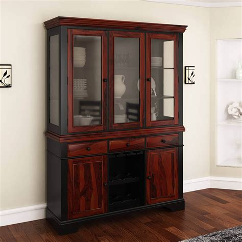 illinois modern two tone solid wood glass door dining
