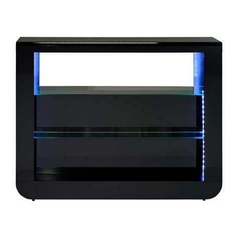 meuble bar noir laqu 233 design led avec deux tablettes vitr 233 es