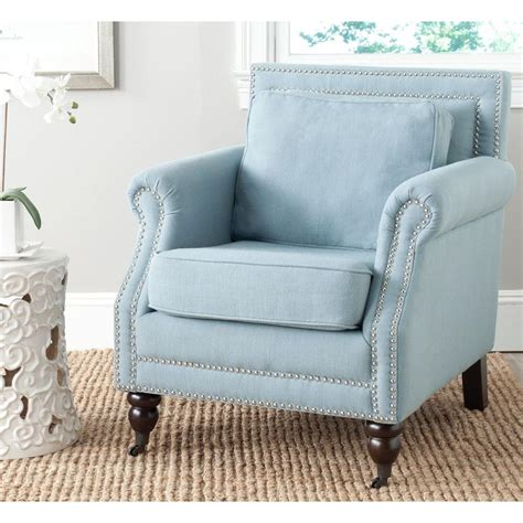 blue armchair safavieh karsen sky blue cotton blend club arm chair mcr4534c the home depot