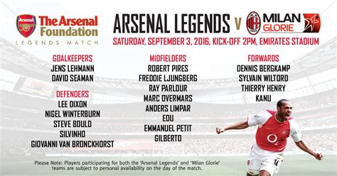 Arsenal Legends arsenal legends v milan glorie news junior gunners