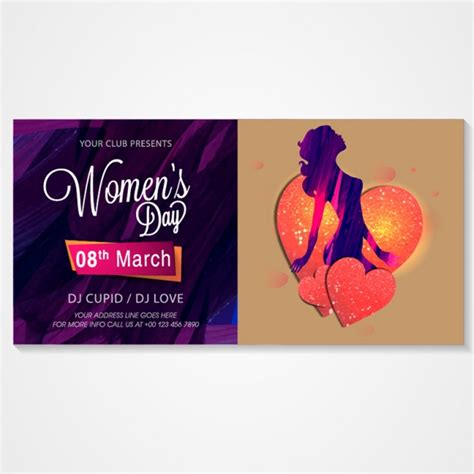 design an invitation card for women s day invitation card for women s day party vector premium