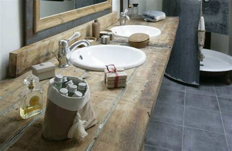 rustic wood shelves bathroom