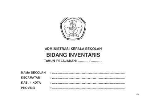format buku sarpras administrasi kepala sekolah inventaris