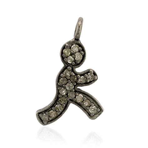 Handmade Sterling Silver Charms - pave 925 sterling silver handmade boy charm