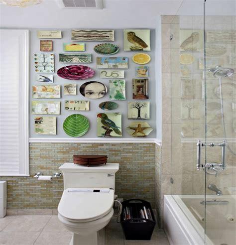 wanddeko badezimmer wanddeko mit tellern was macht der essteller an der wand