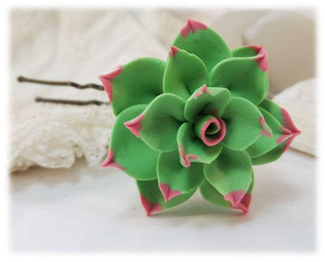 Green Tipped Succulent large pink tipped succulent hair pin green hair flower