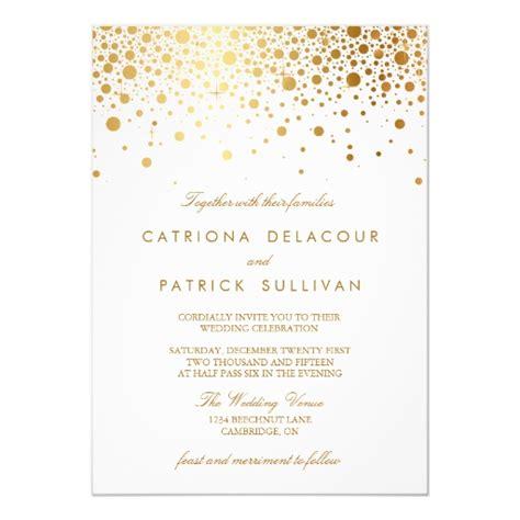 Faux Gold Foil Confetti Elegant Wedding Invitation Zazzle White And Gold Invitation Templates