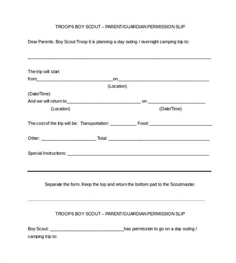 scout permission slip template sle permission slip 14 documents in word pdf
