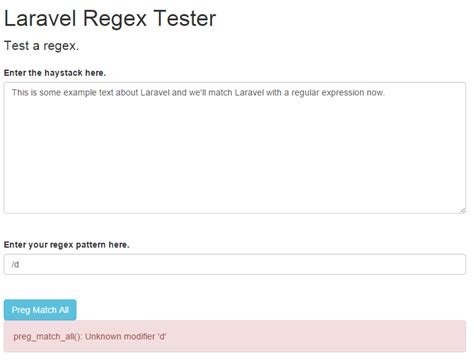 laravel exception tutorial build a regular expression tester with laravel web