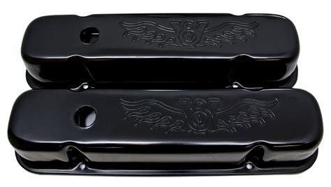 pontiac          tall steel valve covers edp black  logo
