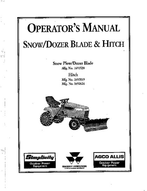 simplicity snow dozer blade hitch 1692039 1692624 snow blower owners manual