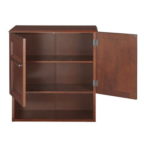 wall mounted cabinet bathroom storage 3 shelves mahogany