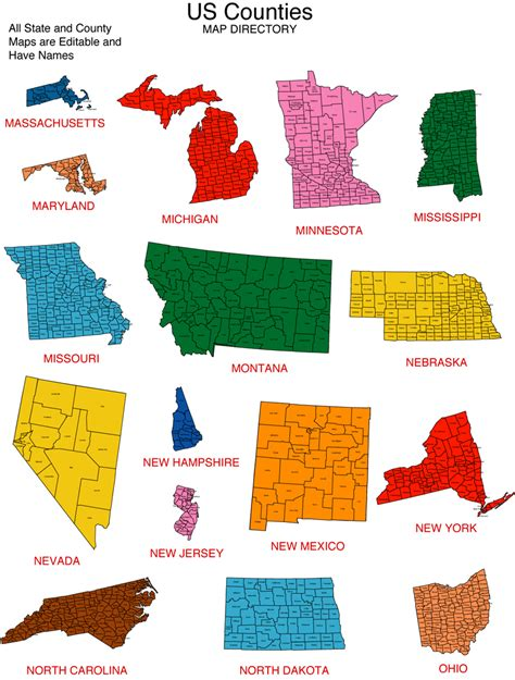 us map individual states maps for design editable clip powerpoint maps us