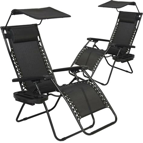 pcs  gravity chair lounge patio chairs  canopy cup holder ho ebay