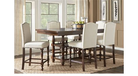 Carpathian Cherry Rectangle 7 Pc Dining Room Dining Room Sets Wood Stanton Cherry 7 Pc Counter Height Dining Room With Ivory
