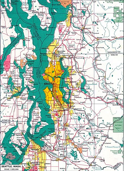 seattle road map state of washington maps of interstate highways cities