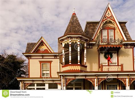 Bow Window Prices victorian house at christmas royalty free stock images