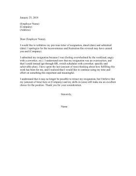 Resignation Retraction Letter Template