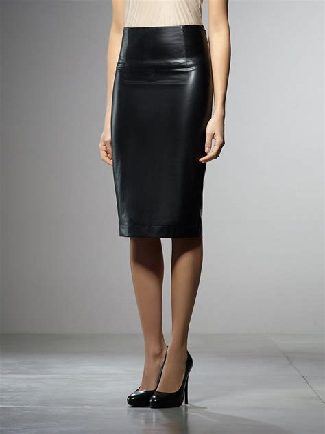 patrizia pepe high waisted pencil skirt in eco leather in