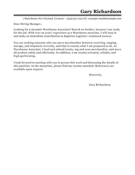 resume cover letter sles for warehouse warehouse associate cover letter sle cover letters livecareer
