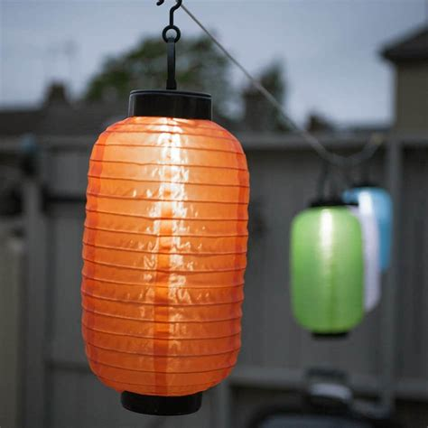 String Lights Chinese Lantern Orange Ellipse Solar Led Outdoor Lantern String Lights