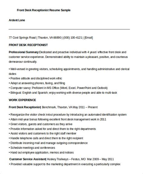 Front Desk Resume by 10 Receptionist Resume Templates Pdf Doc Free