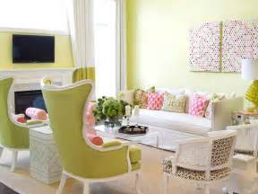 Room this cheery living room features a vibrant pink and green color