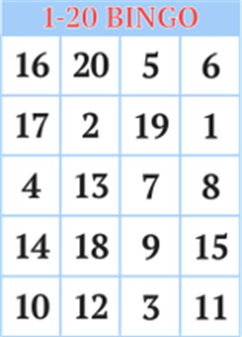 printable a4 numbers 1 20 1 20 number bingo cards for kids