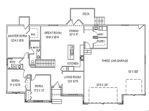 ranch with basement floor plans single story open floor plans ranch house floor plans with