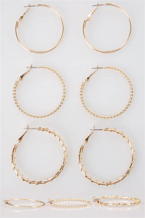 Black Chandelier Tabs 3 Pack Gold Medium Hoop Earrings