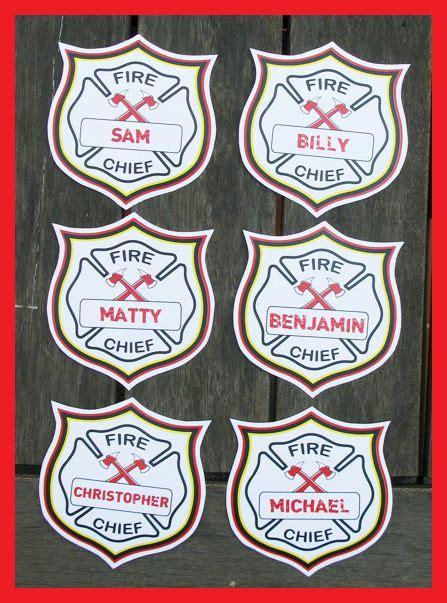 fire chief badges fireman birthday fireman party